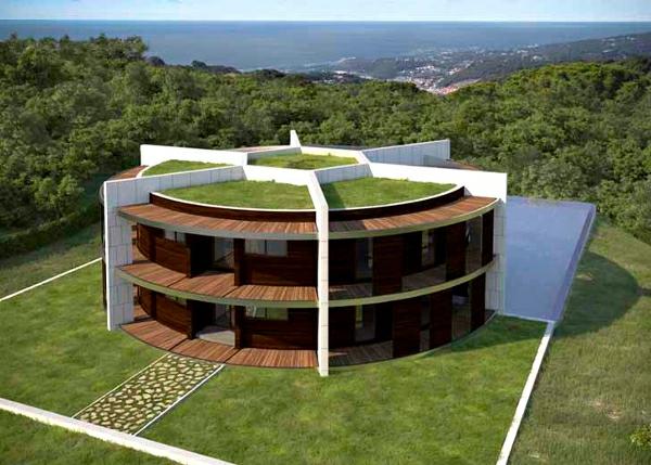Nachhaltiges Ökohaus in Form von Fußball