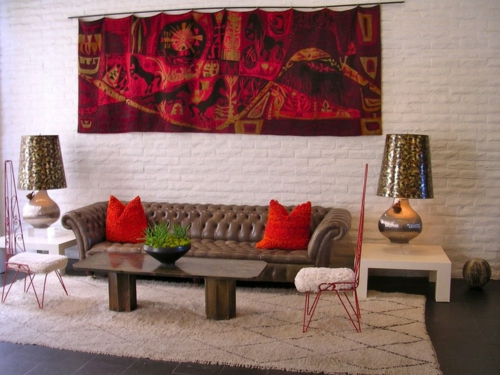 Teppiche aus Marokko zu Hause weiß weich rauten wohnzimmer eklektisch
