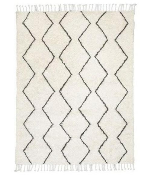 Teppiche aus Marokko zu Hause weiß weich schwarz rautenformen