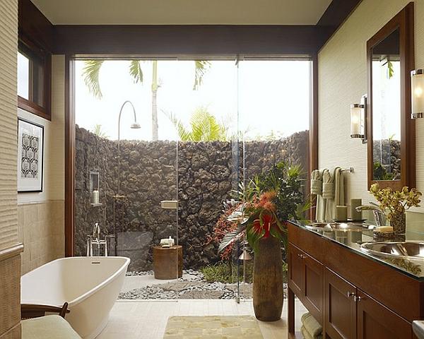 Tropische Inneneinrichtung badezimmer glaswände dusche