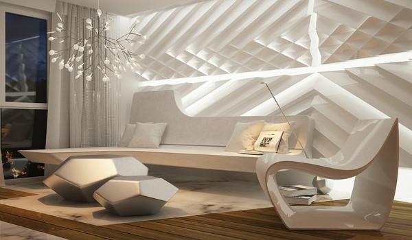Futuristische Einrichtung In Einem Apartment Wohnzimmer