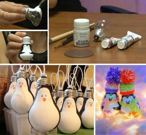 Weihnachtsdekoration selber machen pinguinen glühbirnen