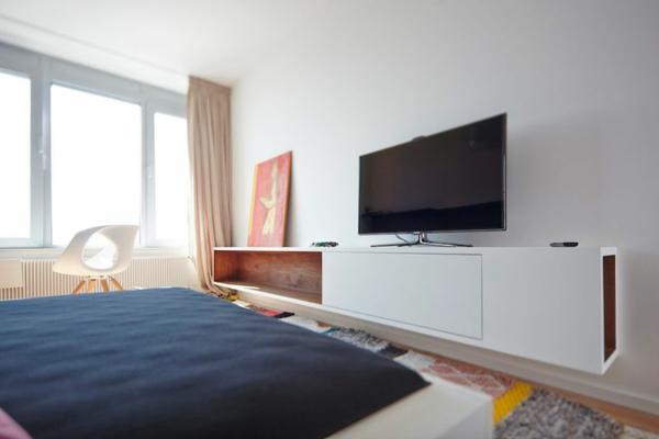apartement weiße schwebende kommode für den fernseher