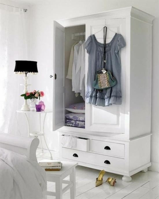 aufbewahrungsideen retro kleiderschrank in weiß