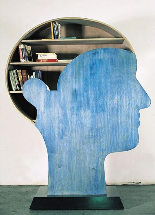 bücher regale stilisierter kopf in blau