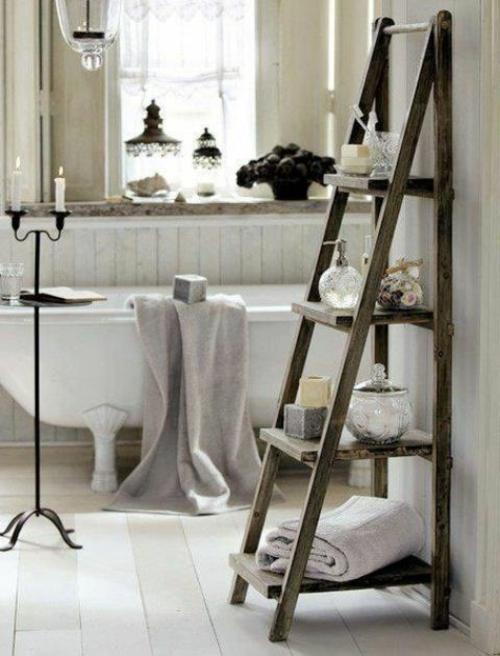 Badeinrichtung Kreatives Regal Aus Alter Holzleiter