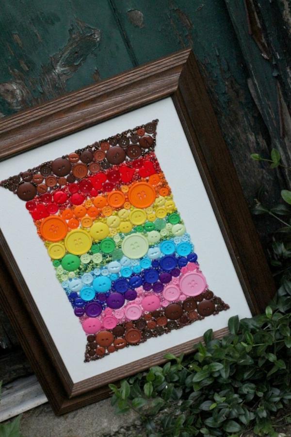 basteln mit knöpfen regenbogen wandkunst
