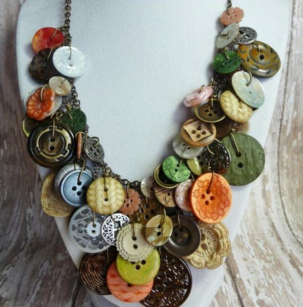 basteln mit knöpfen vintage halskette