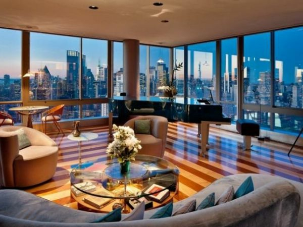 beleuchtung wohnzimmer design idee streifen fußboden