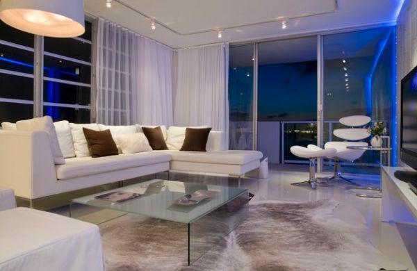 beleuchtung wohnzimmer design idee weiß braun