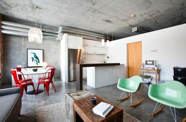 beton zimmerdecke wohnzimmer küche eklektisch einrichtung