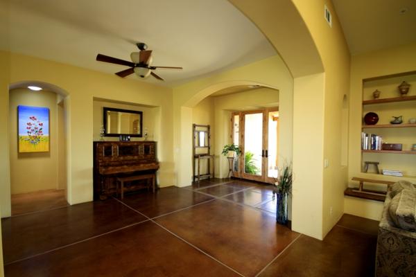 betonfußboden wohnzimmer im kolonialstil
