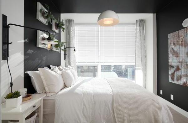 brilliant weiß schlafzimmer einrichtung grün frisch pflanzen