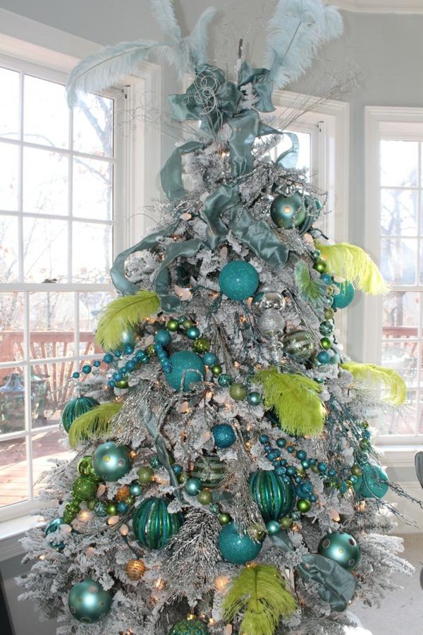 bunte Wohnideen für Weihnachtsdekoration blau lime
