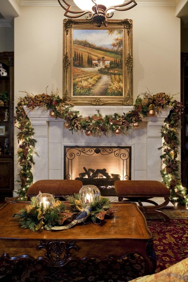 bunte Wohnideen für Weihnachtsdekoration einbaukamin