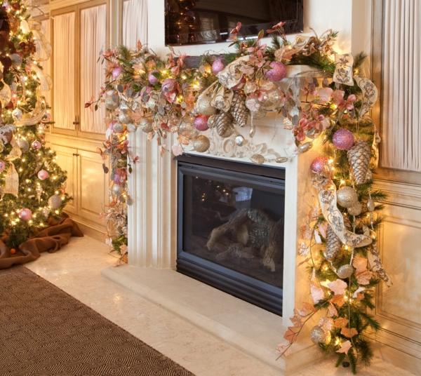 bunte Wohnideen für Weihnachtsdekoration feminine deko