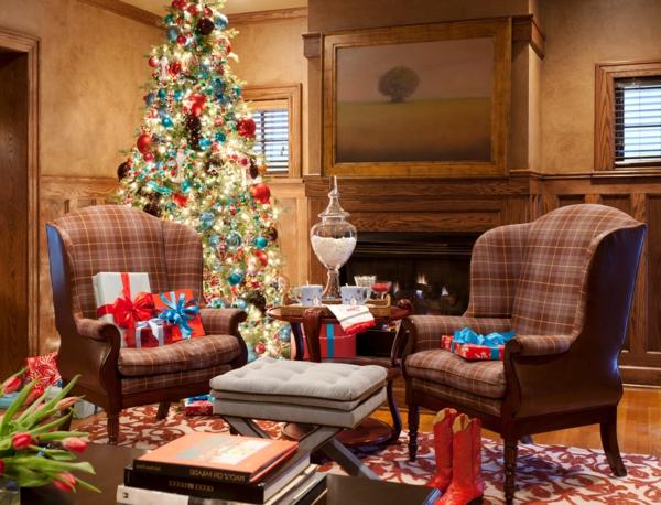 großartige Wohnideen für Weihnachtsdekoration rot blau stoffe