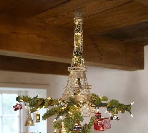 christbaumspitze eiffel turm mit lichter kette