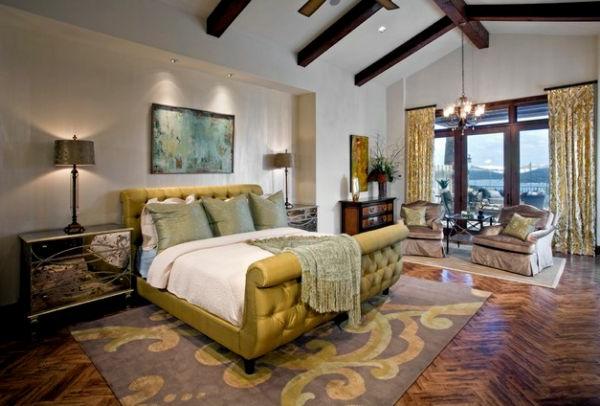 coole Betten im Kolonialstil gepolstert grasgrün teppich schlafzimmer