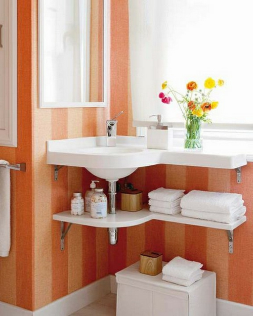 coole Einrichtung fürs kleine Badezimmer orange streifen waschbecken