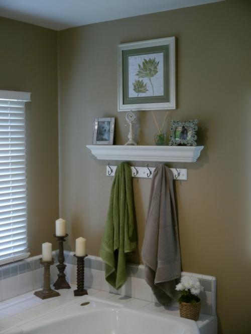 lösungen kleine Badezimmer tücher grün grau