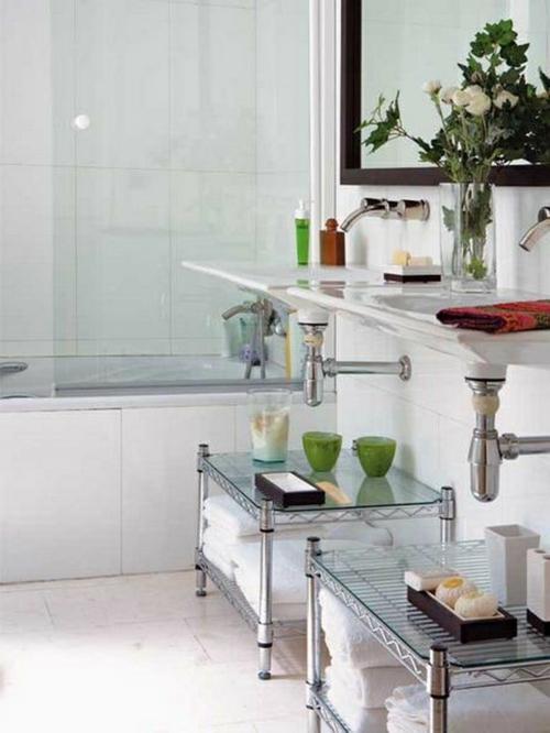 coole Einrichtungsideen fürs kleine Badezimmer tücher staufläche