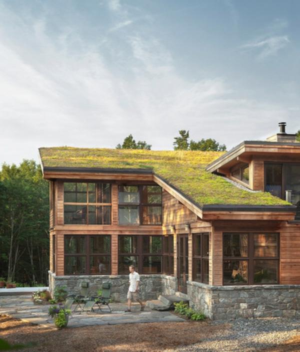 dachbegrünung helles holz und natursteine