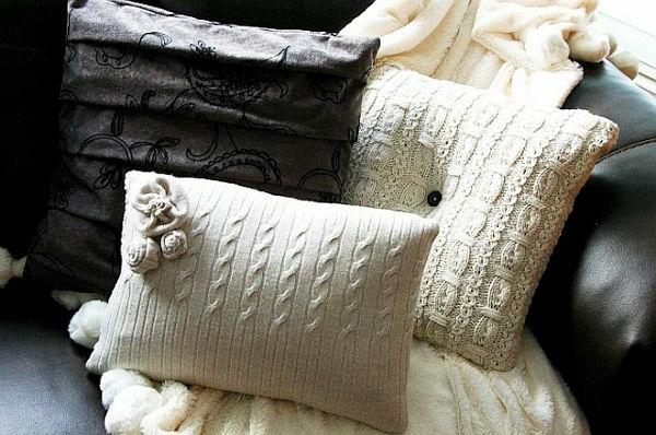 dekokissen selber machen originelle diy ideen aus alten. Black Bedroom Furniture Sets. Home Design Ideas