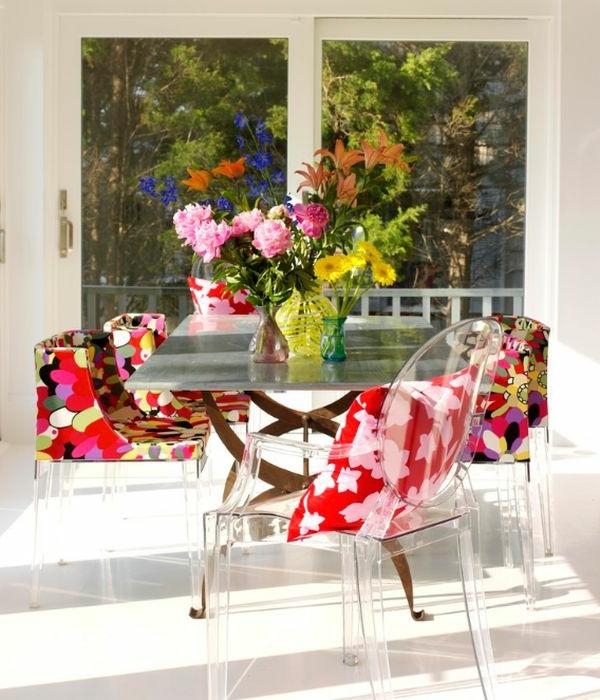 designer tolle stühle bunt und durchsichtig mit ovaler lehne