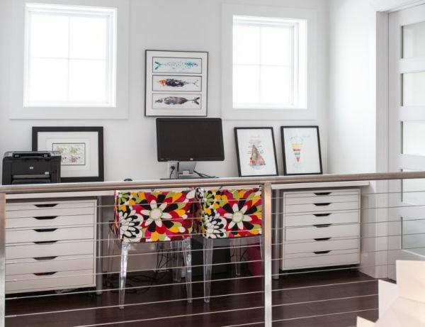 designer stühle bunter arbeitsplatz home office