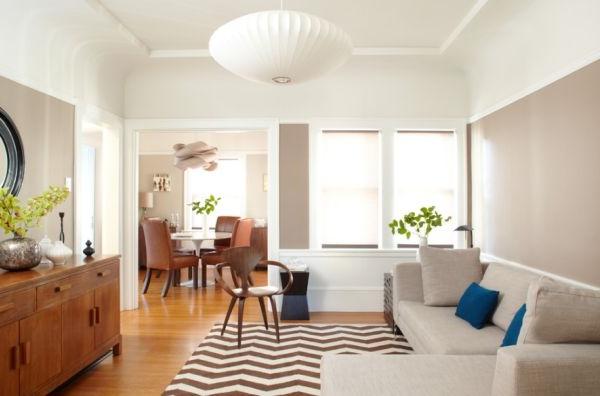 designer stühle und teppich mit chevron muster