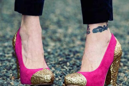 diy fashion pinke pumps schuhe und gold glitzer