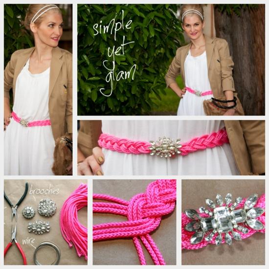 diy fashion pinker gürtel mit kristallsteinen