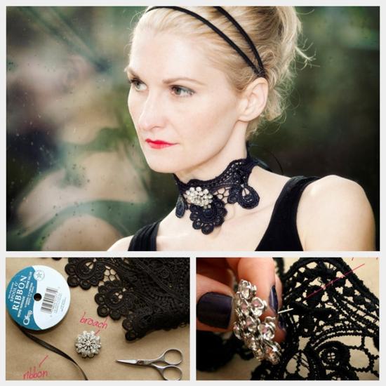 diy fashion schwarze spitze und gliter steinen