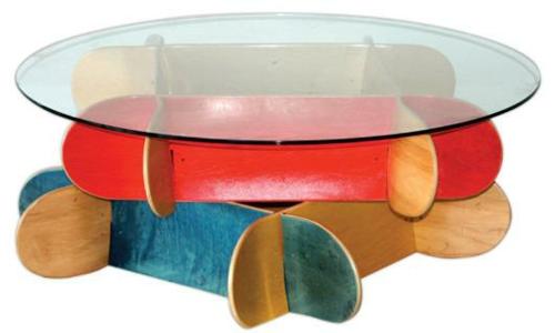 erstaunliche skateboard erzeugnisse diy couchtisch glas platte - Skateboard Bank Beine