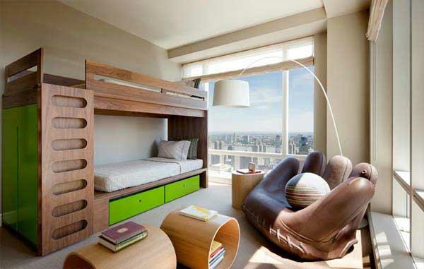 etagenbett aus nussbaumholz mit neongrünen akzenten