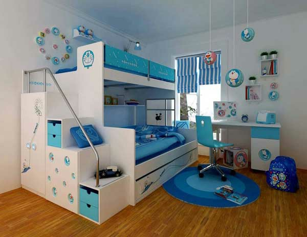 etagen bett in blau und weiß mit fächern in den stufen