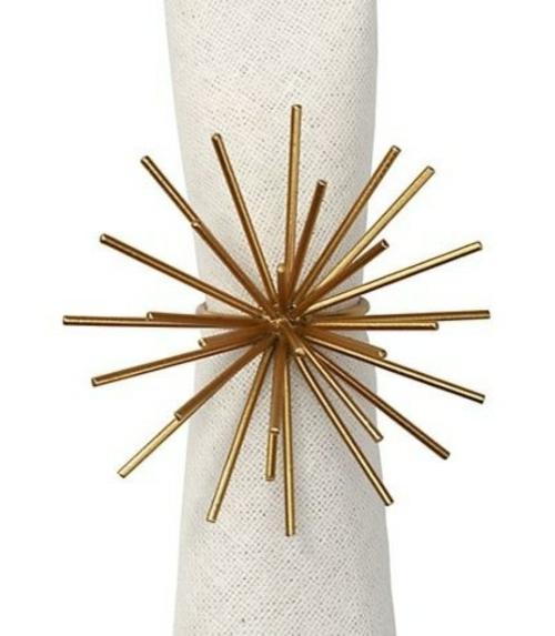 festliches essen serviettenring schneekristall in gold
