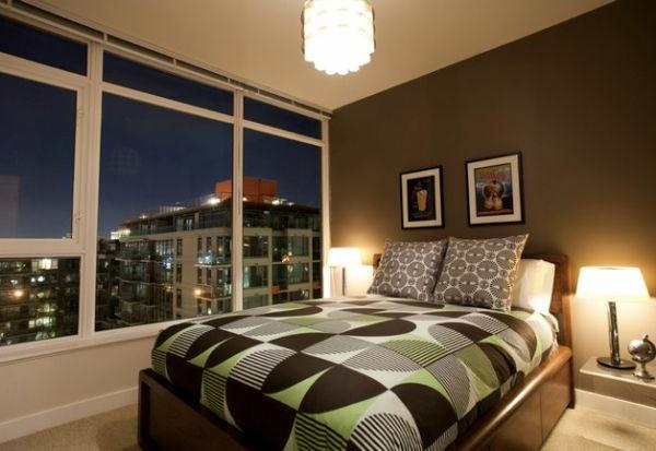 geometrische formen muster bettwäsche design schlafzimmer glaswände