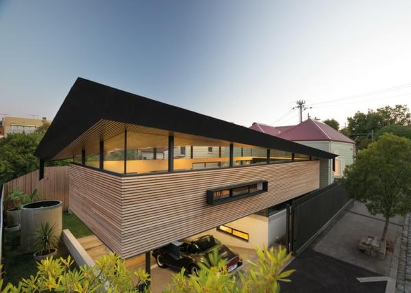 glas fassade dach hausanbau modern originell