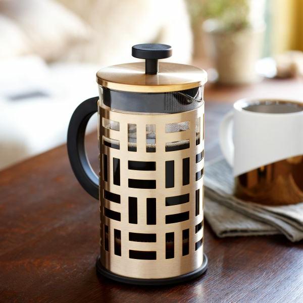 goldtouch kaffeekanne aus glas und metall