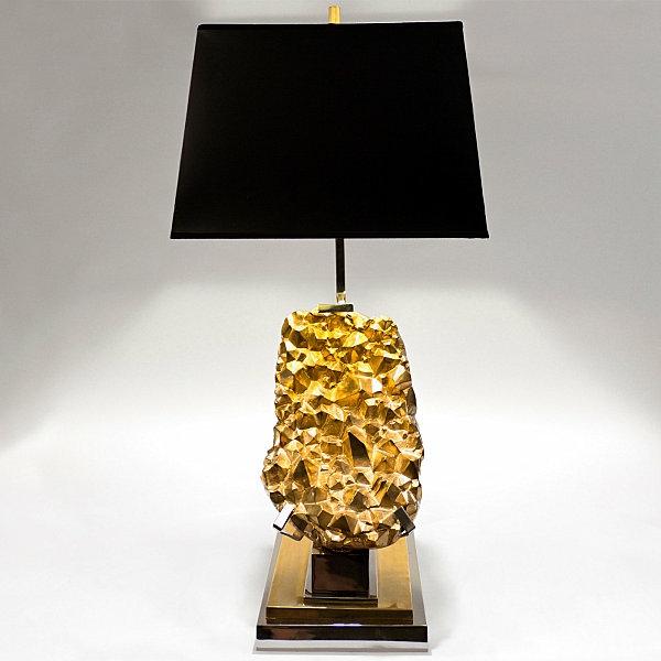 goldtouch lampenfuß aus messing mit schwarzem lampenschirm