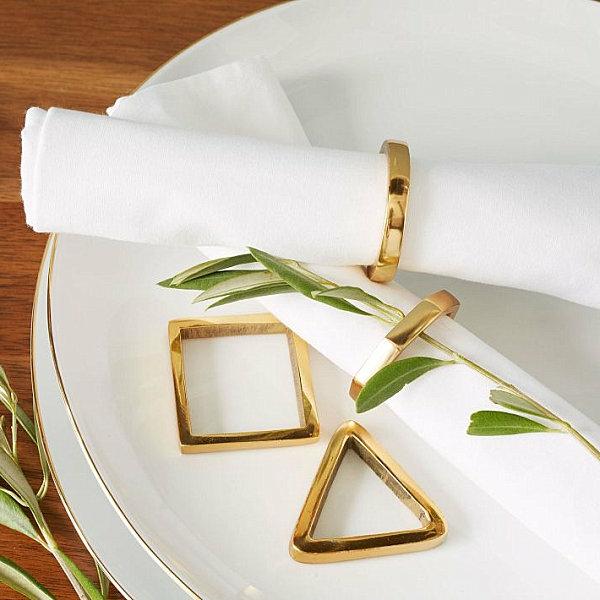 goldtouch serviettenringe in geometrischer form