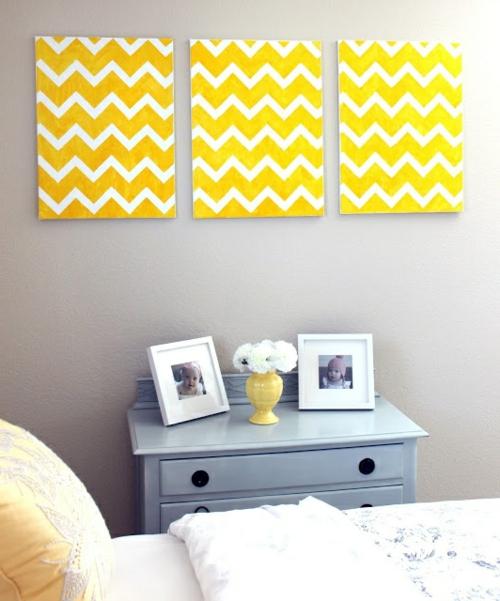 innovative Wanddekoration selber machen gelb weiß chavron muster