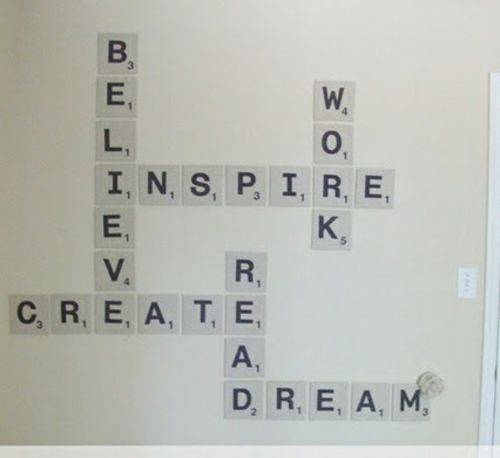 innovative Wanddekoration selber machen scrabble art