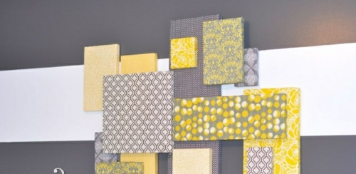 Wanddekoration selber machen streifen grau platten