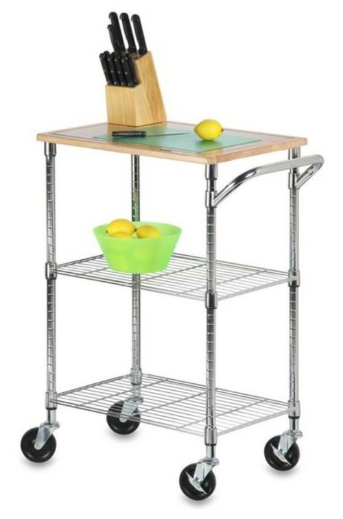 küchenarbeitsflächen glänzender küchenwagen aus stahl