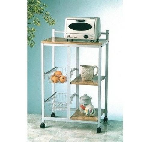 küchenarbeitsflächen minimalistischer küchenwagen mit stahlkörben