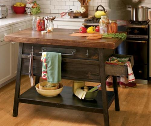 küchenarbeitsflächen rustikale anrichte mit schubladen