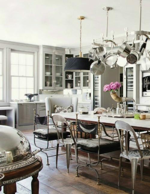 küchen ideen geschirrgestell über dem tisch